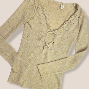 Anthropologie Knit Lace-up Sweater Small Tan Boho